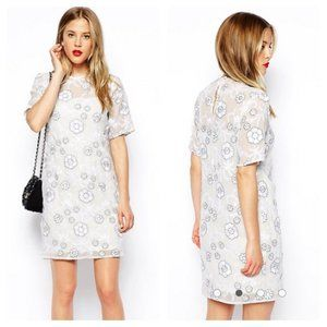 ASOS Flower Embroidery T-Shirt Dress in White